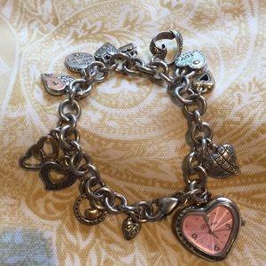 Brighton Heart Breast Cancer Charm Watch Bracelet